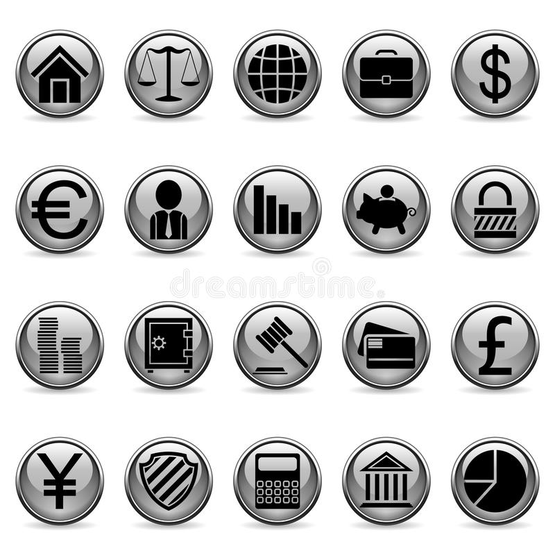 Botones del asunto y de las finanzas del vector. stock de ilustración