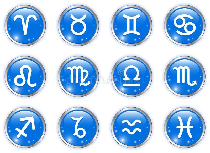 Botones del círculo con las muestras del zodiaco ilustración del vector