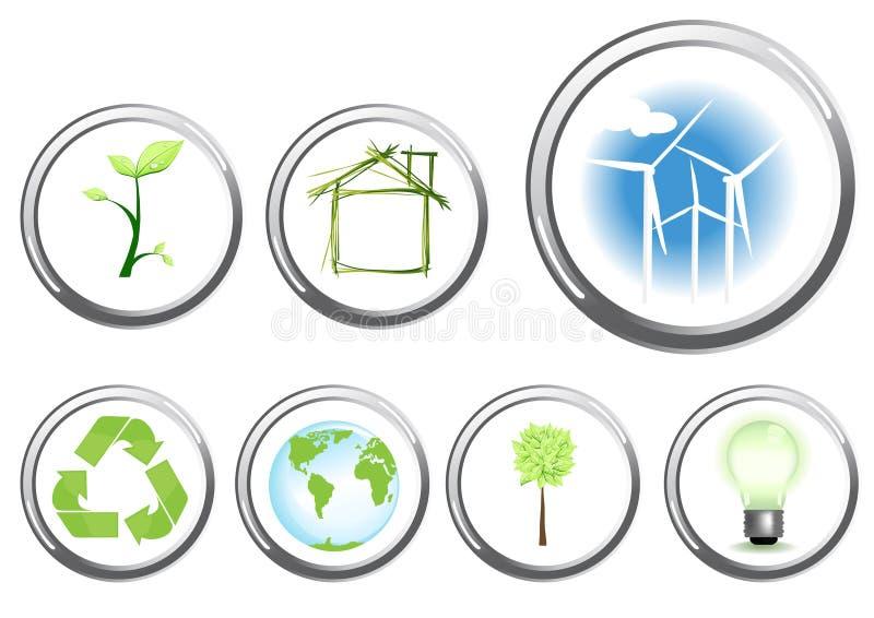 Botones del concepto del ambiente stock de ilustración