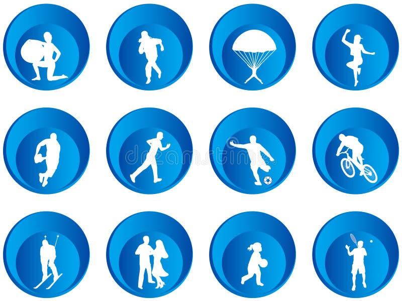 Botones del deporte stock de ilustración