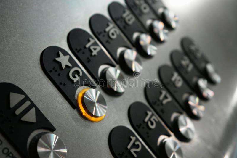 Botones del elevador imagen de archivo