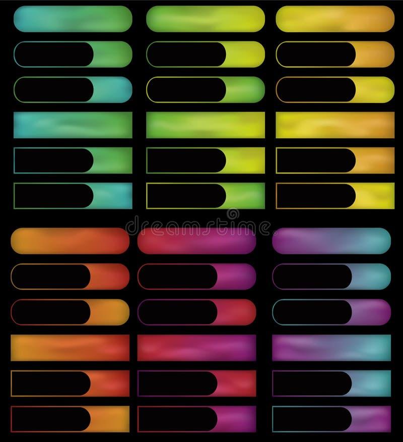 Botones del espectro del gradiente que brillan intensamente stock de ilustración