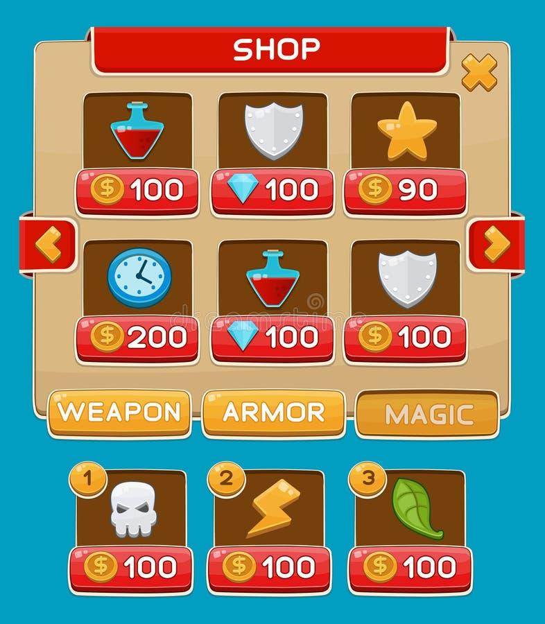 Botones del interfaz fijados para los juegos o los apps libre illustration