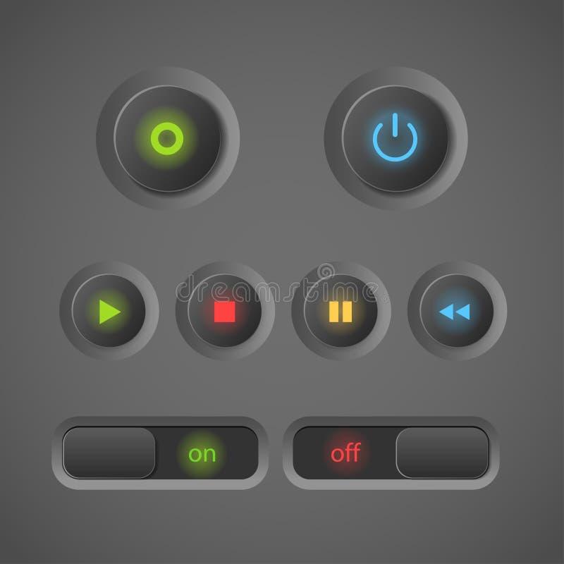 Botones del interfaz que brillan intensamente libre illustration