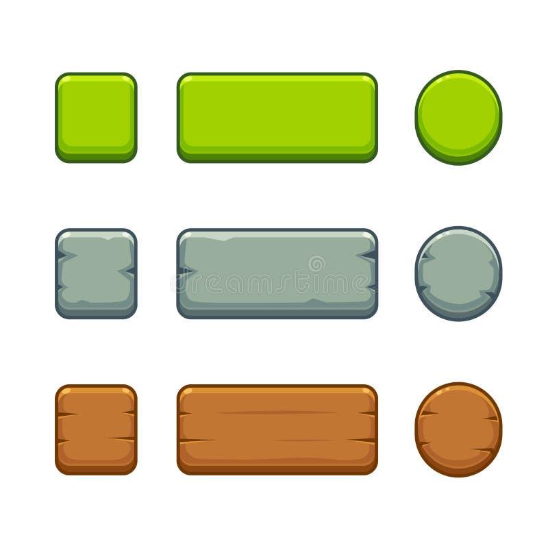 Botones del juego fijados stock de ilustración