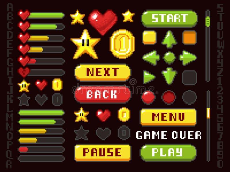 Botones del juego del pixel, elementos de la navegación y de la notación y sistema del vector de los símbolos stock de ilustración