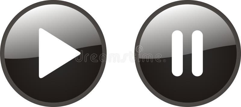Botones del juego y de pausa ilustración del vector