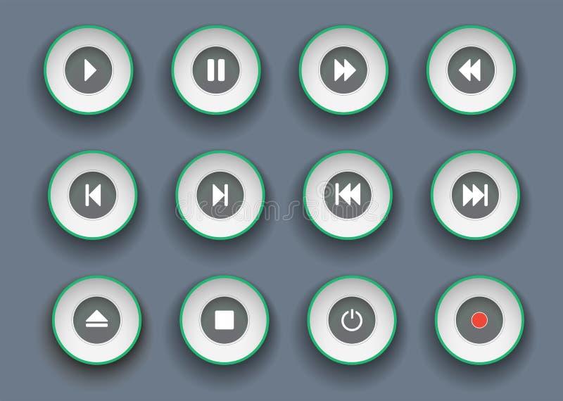 Botones del jugador fijados en el estilo cortado de papel Símbolos para el juego, la parada, la pausa y el clip de mudanza adelan libre illustration