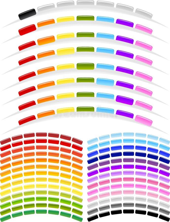 Botones del menú de la dimensión de una variable del arco imágenes de archivo libres de regalías