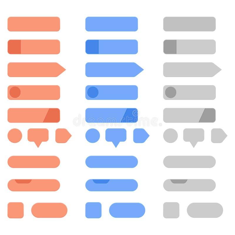 Botones del menú del interfaz fijados Colección de botones coloreados espacio en blanco del web libre illustration