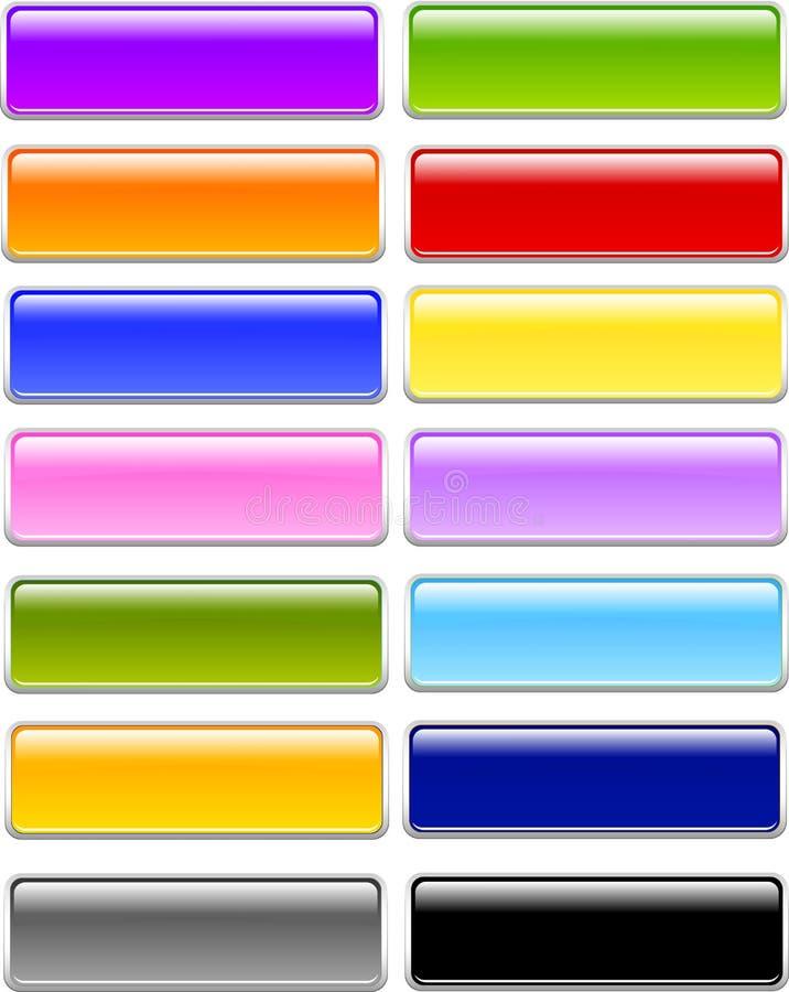 Botones del rectángulo del gel o del vidrio imagenes de archivo