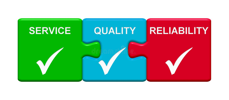 3 botones del rompecabezas que muestran confiabilidad de la calidad del servicio ilustración del vector