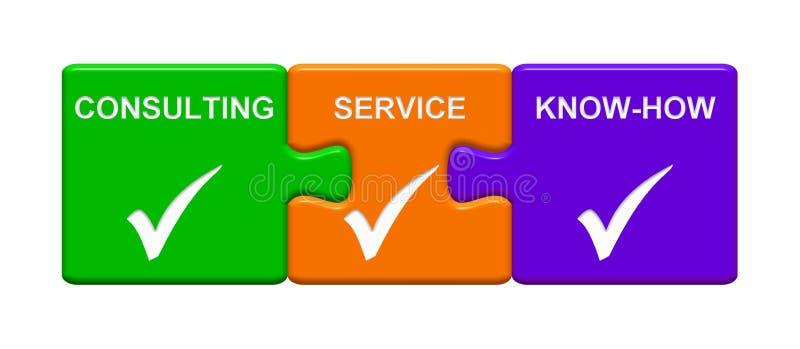 3 botones del rompecabezas que muestran conocimientos técnicos del servicio de asesoramiento ilustración del vector