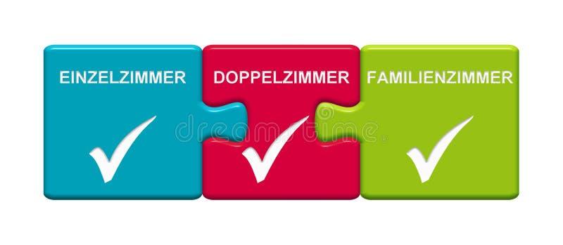 3 botones del rompecabezas que muestran a solo sitio alemán de la sala de estar de sitio doble libre illustration
