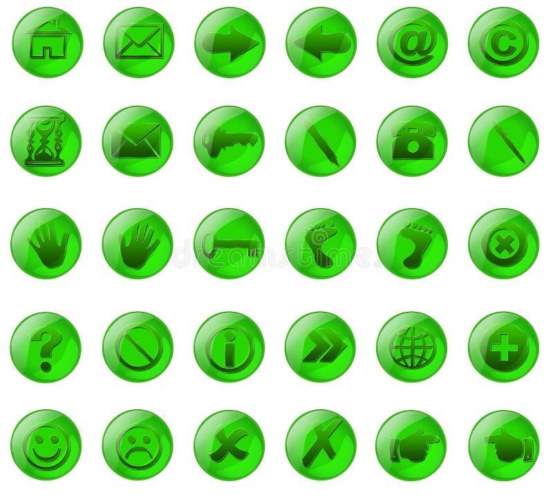 Botones del vidrio verde imágenes de archivo libres de regalías