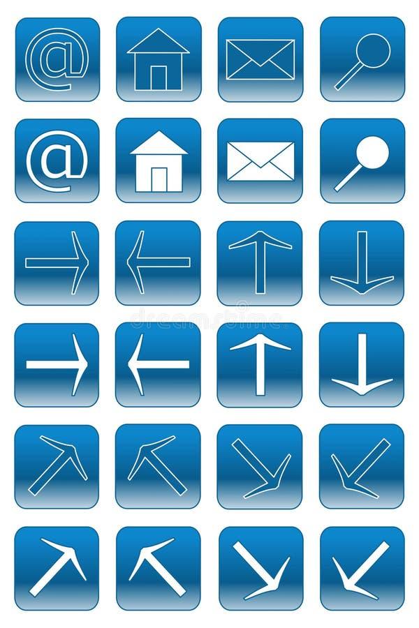 Botones del Web: 1 azul claro stock de ilustración