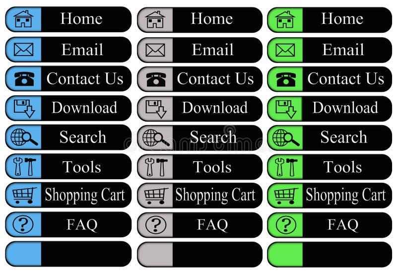 Botones del Web con los iconos stock de ilustración