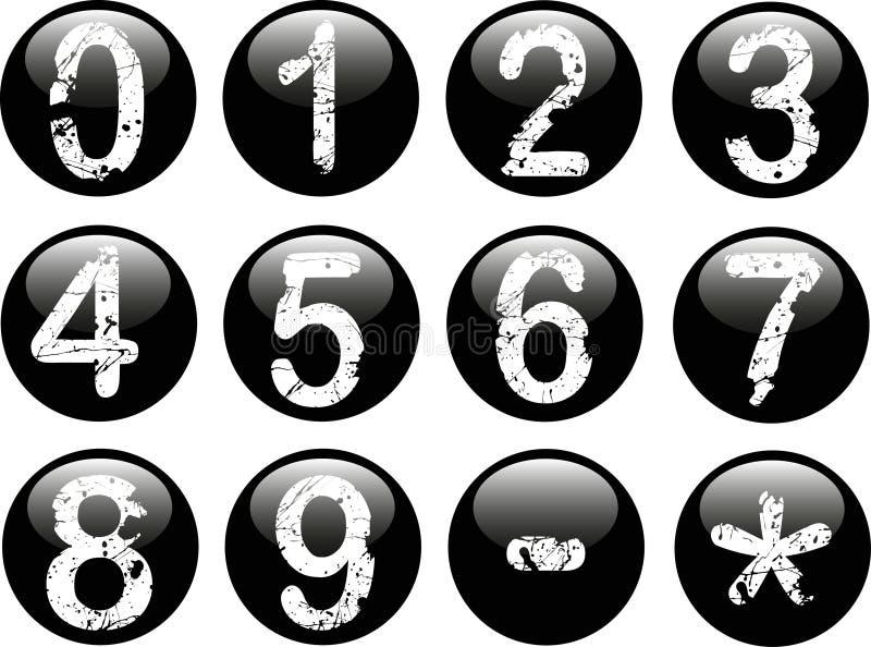 Botones del Web con números stock de ilustración