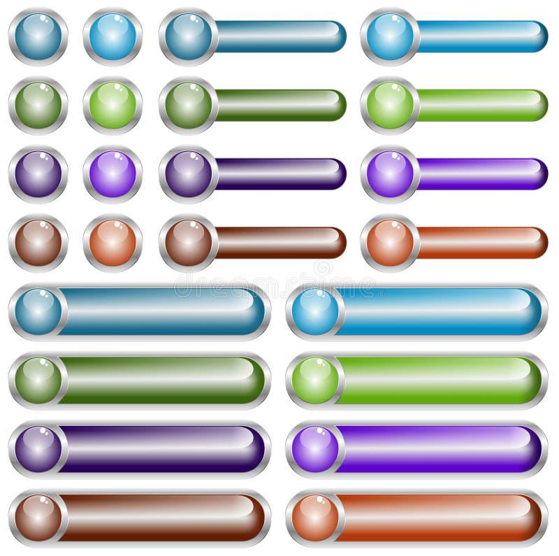 Botones del Web cromados ilustración del vector