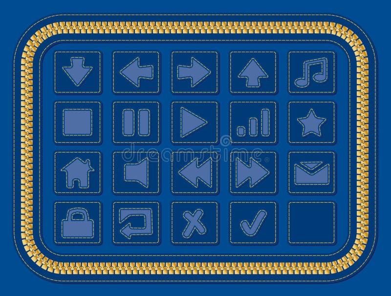 Botones del Web de los pantalones vaqueros imagen de archivo libre de regalías