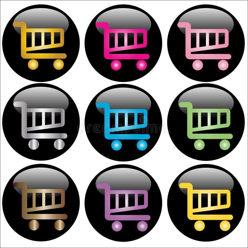 Botones del Web del carro de compras stock de ilustración