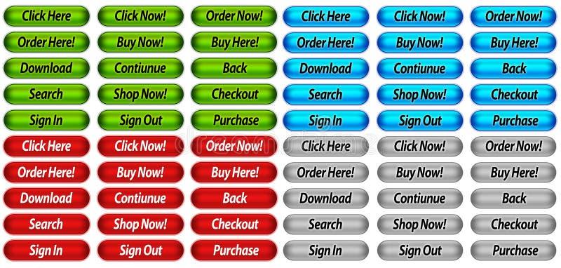 Botones del Web site ilustración del vector