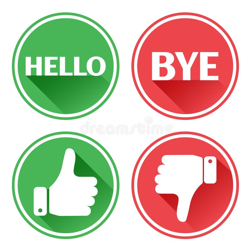 Botones determinados rojos y verdes Hola y adi?s Pulgar hacia arriba y hacia abajo Vector ilustración del vector