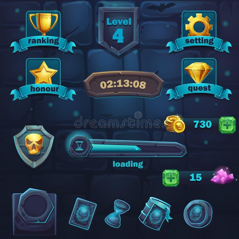 Botones e icono determinados de los artículos del GUI de la batalla del monstruo stock de ilustración