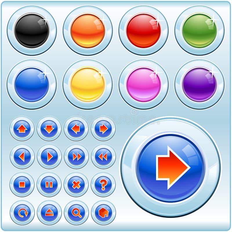 Botones e iconos brillantes ilustración del vector