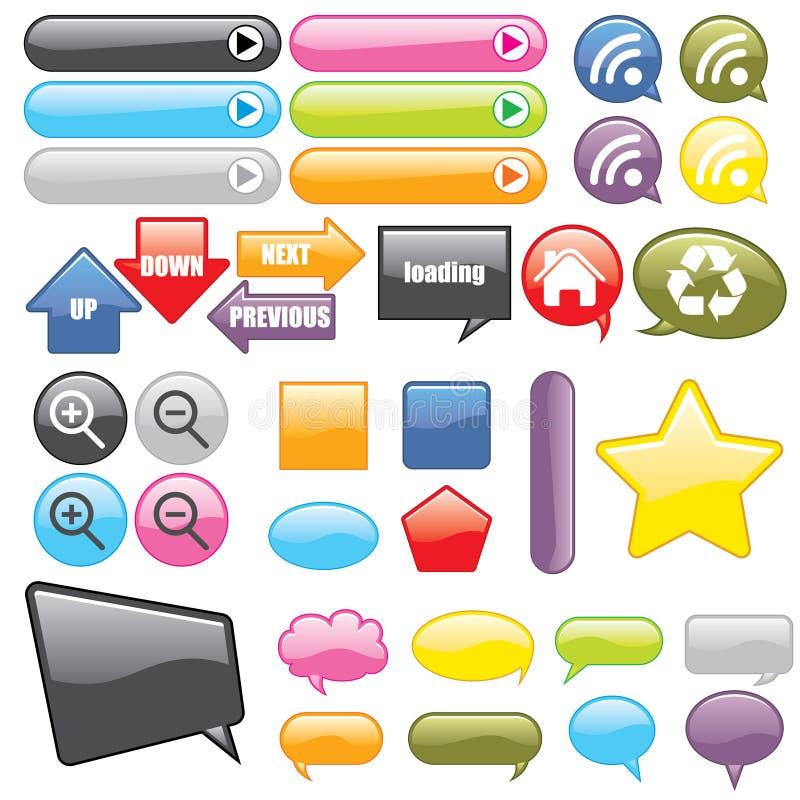 Botones e iconos del Web ilustración del vector