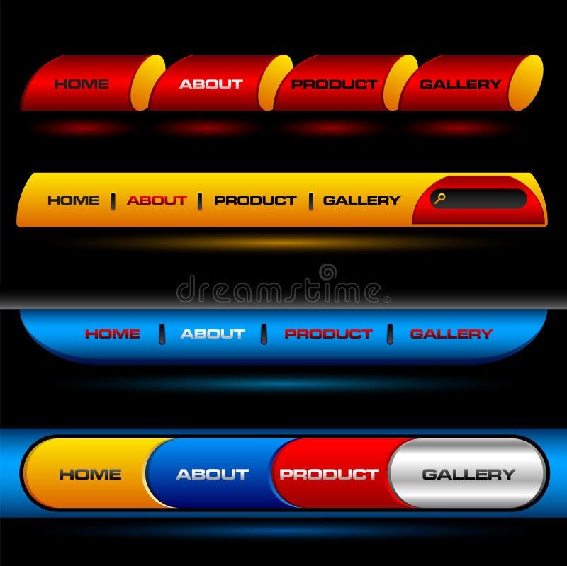 Botones Editable del vector del Web site stock de ilustración
