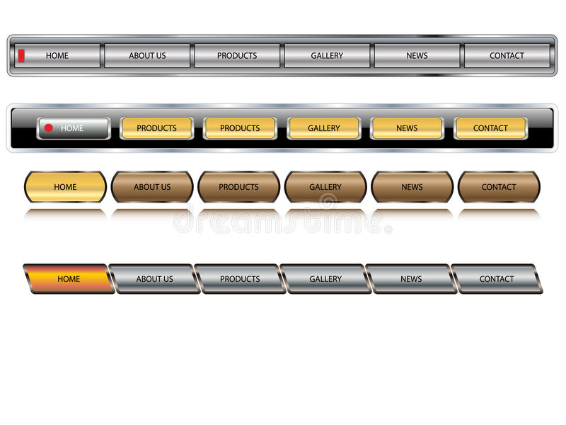Botones editable metálicos del Web site del vector. stock de ilustración