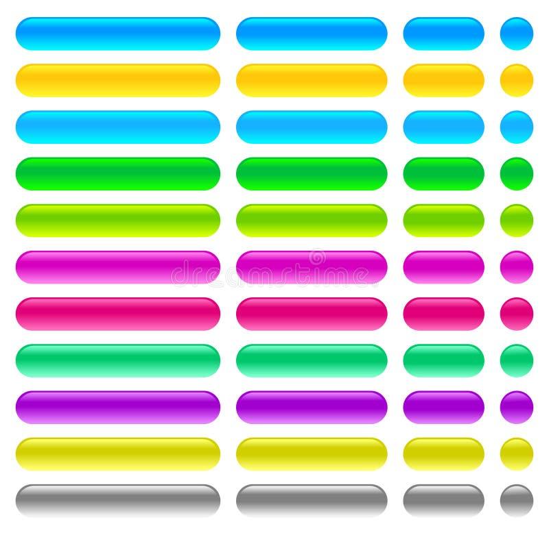 Botones en blanco coloreados enmara?ados de la web en el fondo blanco ilustración del vector