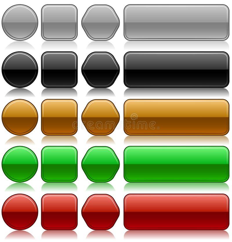 Botones en blanco metálicos stock de ilustración