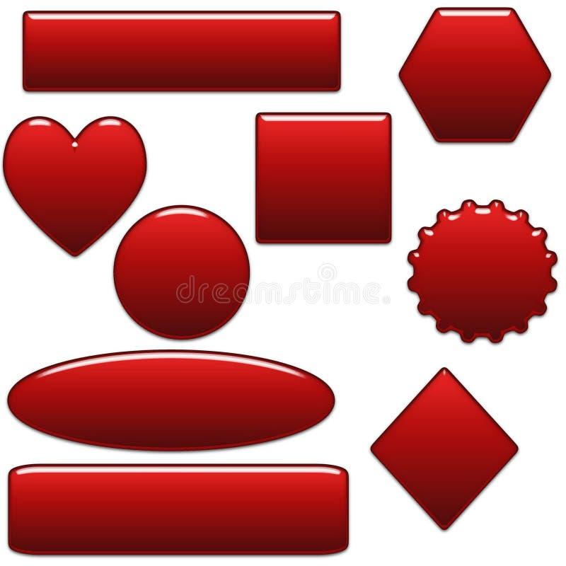 Botones en blanco rojos en negrilla y dimensiones de una variable del Web site ilustración del vector