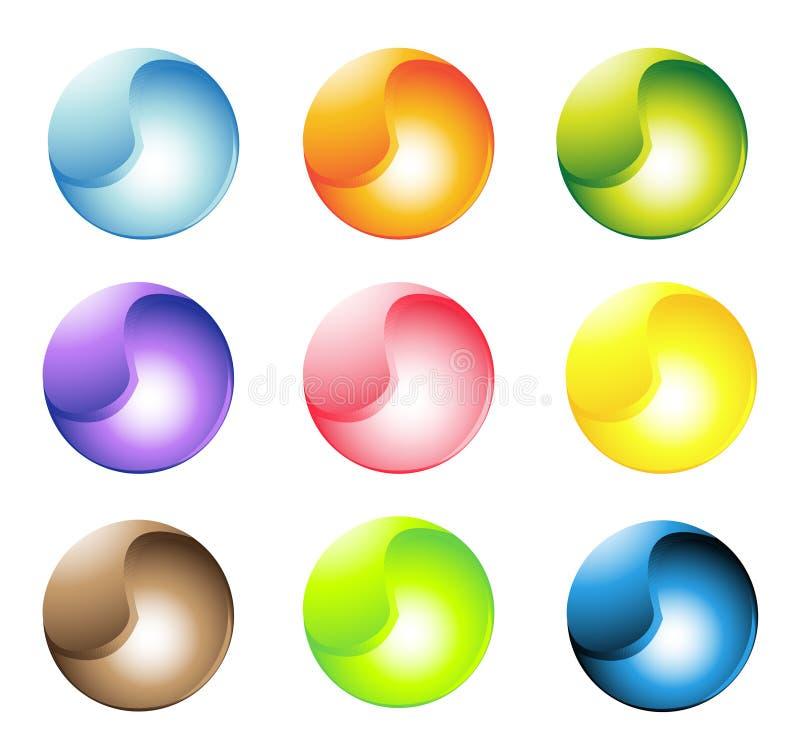 Botones esféricos multicolores ilustración del vector