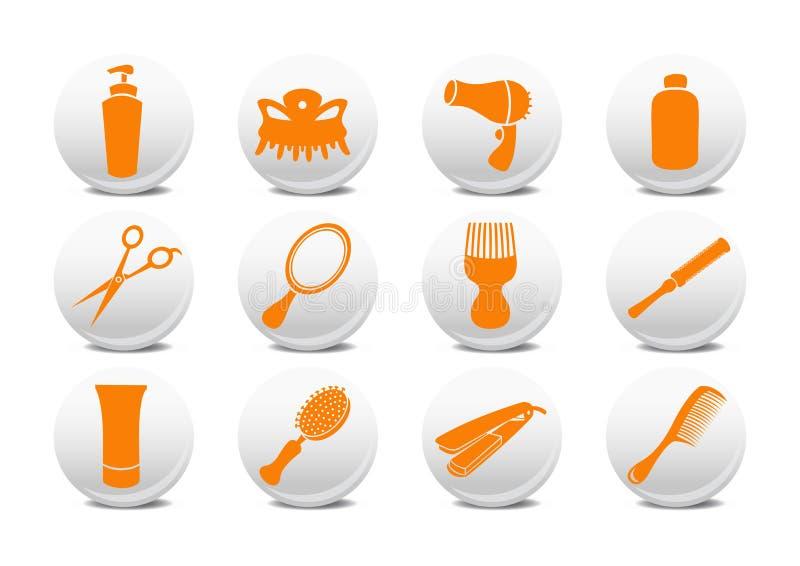 Botones fijados para el salo de la peluquería stock de ilustración