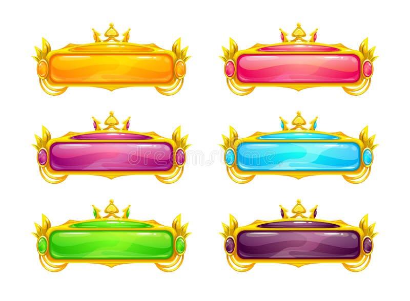 Botones horizontales largos coloridos hermosos stock de ilustración