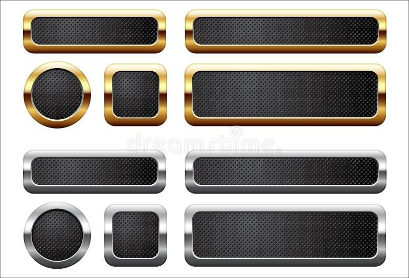 Botones metálicos stock de ilustración