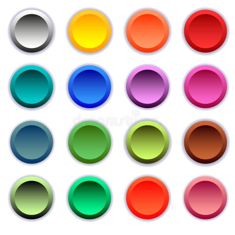 Botones multicolores redondos determinados stock de ilustración