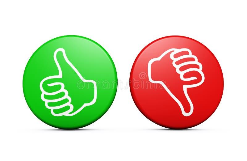 Botones negativos positivos de los comentarios de clientes stock de ilustración