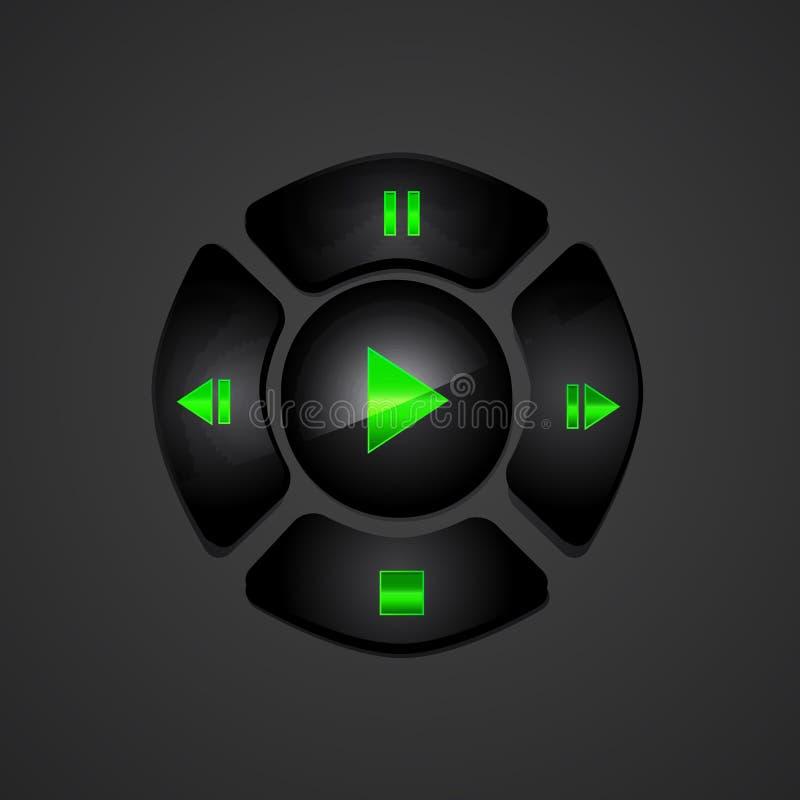 Botones negros del reproductor multimedia ilustración del vector