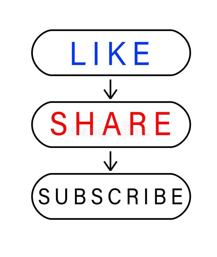 Botones para el gusto, compartir y suscribir ilustración del vector