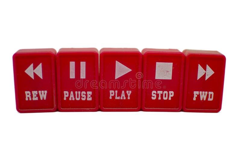 Botones para el juego, parada, rebobinado, música delantera imagenes de archivo