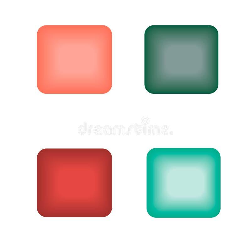 Botones que brillan intensamente del cuadrado de diversos colores ilustración del vector