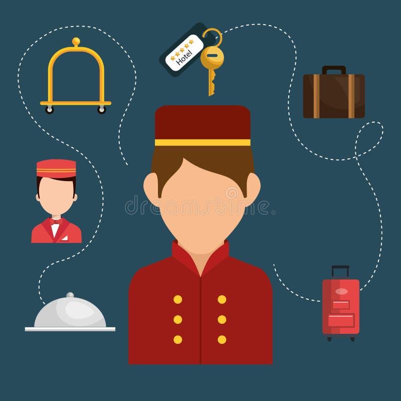 Botones que trabaja en el carácter del hotel ilustración del vector