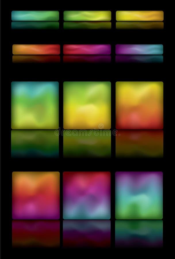 Botones redondeados del gradiente del rectángulo que brillan intensamente stock de ilustración