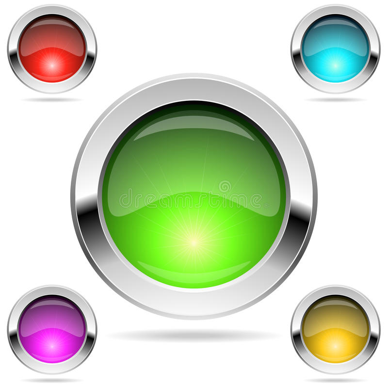 Botones redondos brillantes del color libre illustration