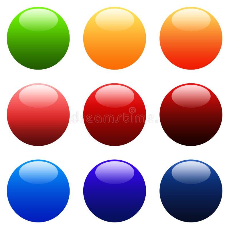 Botones redondos coloridos del Web del gradiente stock de ilustración