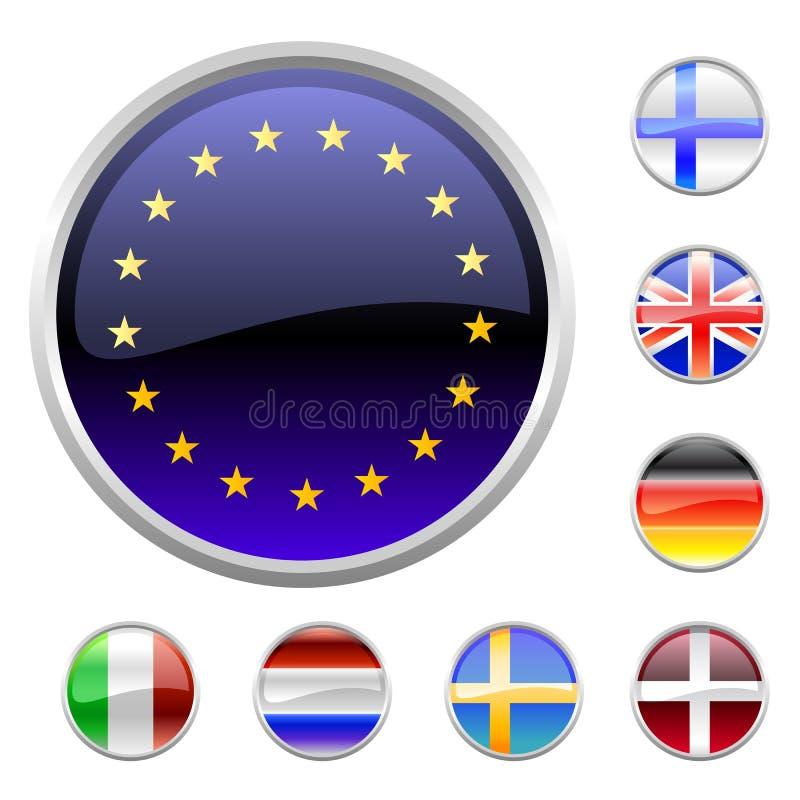 Botones redondos fijar-Europa stock de ilustración